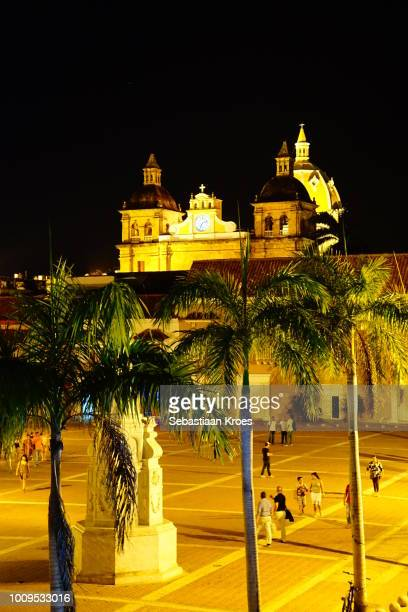 Square and Church at Night, Cartagena, Colombia