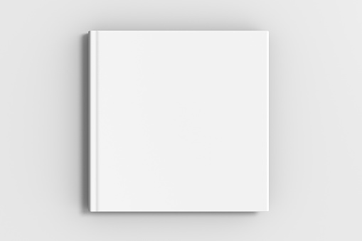 square blank book cover mockup 1031399434