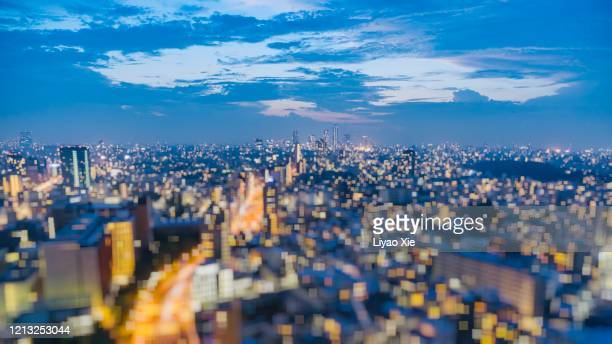 square bokeh of cityscape - liyao xie stock pictures, royalty-free photos & images
