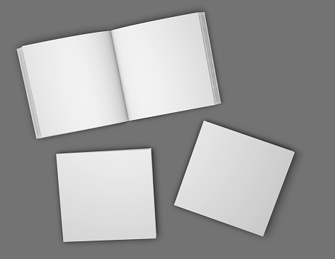 Square booklets, brochures blank open pages and covers mock up illustration. 914493366