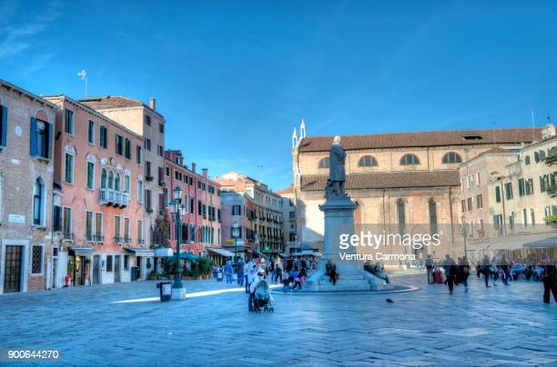 square campo santo stefano, venice, italy - campo santo stefano stock pictures, royalty-free photos & images
