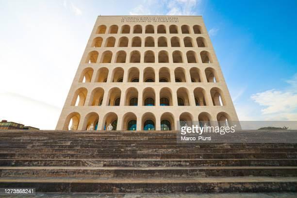 square colosseum (palazzo della civiltà italiana) in rome, italy - eur rome stock pictures, royalty-free photos & images