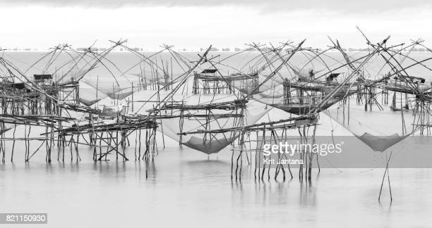 Square dip fishing traps in Phatthalung, Thailand