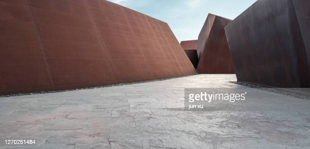 square facade space platform road, 3d rendering - architecture stock pictures, royalty-free photos & images