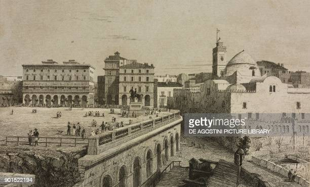 Square in Algiers Algeria engraving by Lemaitre from Algerie by Rozet and Carette Etats Tripolitains by Hoefer Tunis by Frank L'Univers pittoresque...