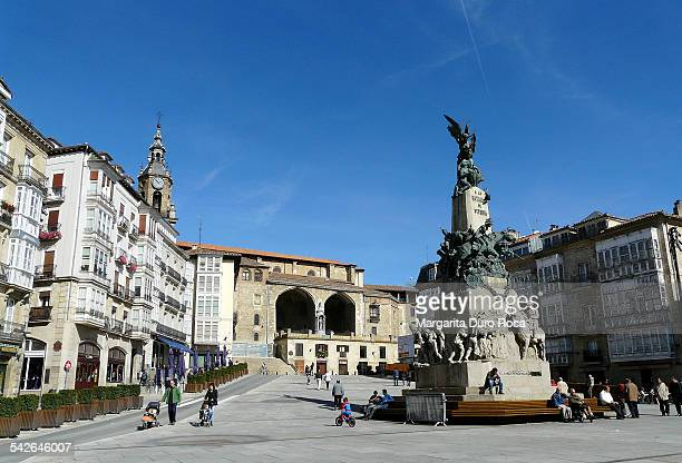 square in virgin blanc - vitoria spain stock pictures, royalty-free photos & images