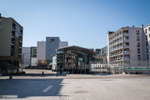 Square is deserted while the shopping mall 'Courier' is closed on March 17, 2020 in Annecy, France. Coronavirus has spread to over 156 countries in a...