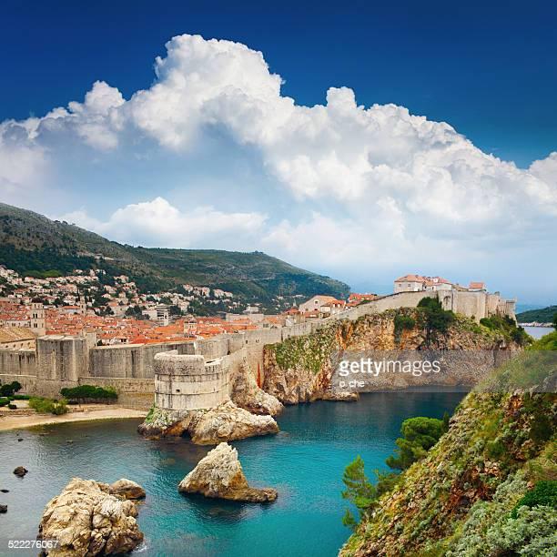 スクエアの風景に囲まれて、古い要塞、クロアチア、ドブロブニク