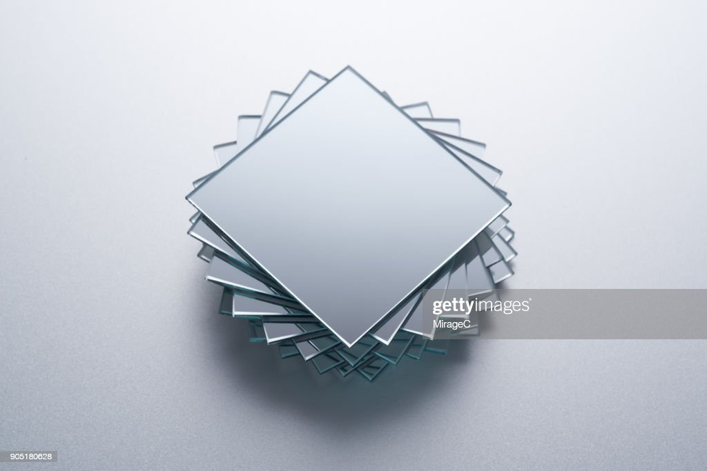 Square Mirrors Stacking : Stock Photo