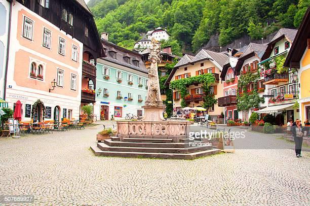 Square picturesque village of Hallstatt