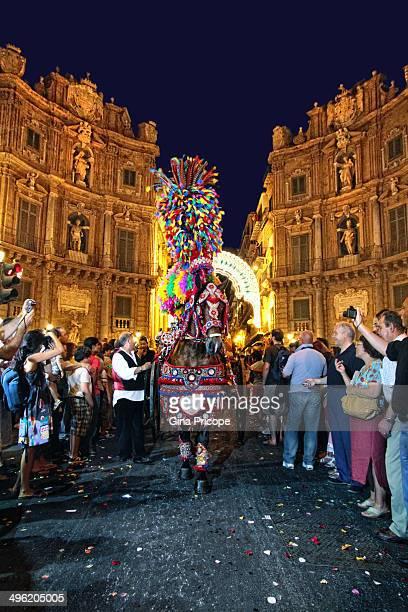 CONTENT] Square 'Quattro Canti' during the festival of Santa Rosalia Palermo