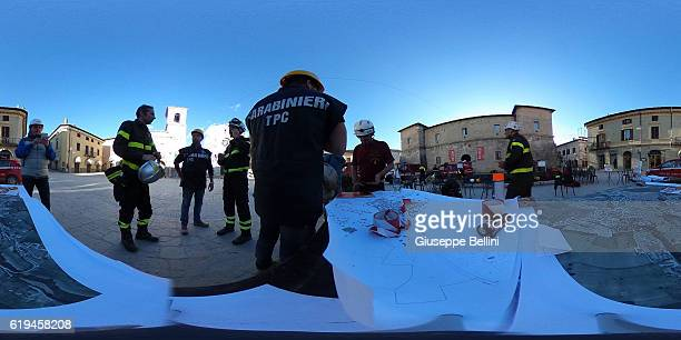 Square San Benedetto da Norcia following a massive earthquake yesterday morning on October 31, 2016 in the town of Norcia in Perugia, Italy. A 6.6...