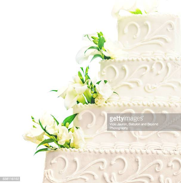 Square Tiered White Wedding Cake