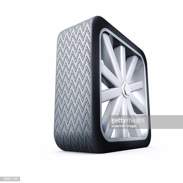 Square tire without function on white