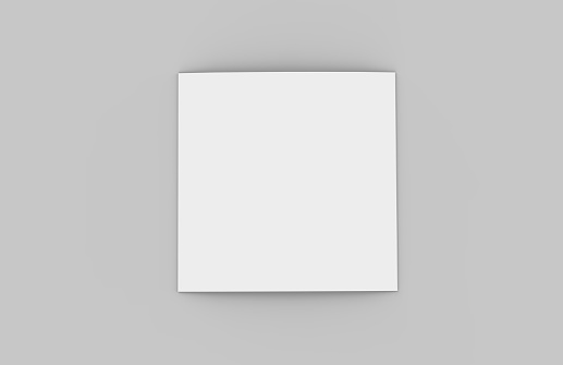 Square Tri-Fold Brochure Mock-up on Isolated White Background, 3D Illustration 994132902