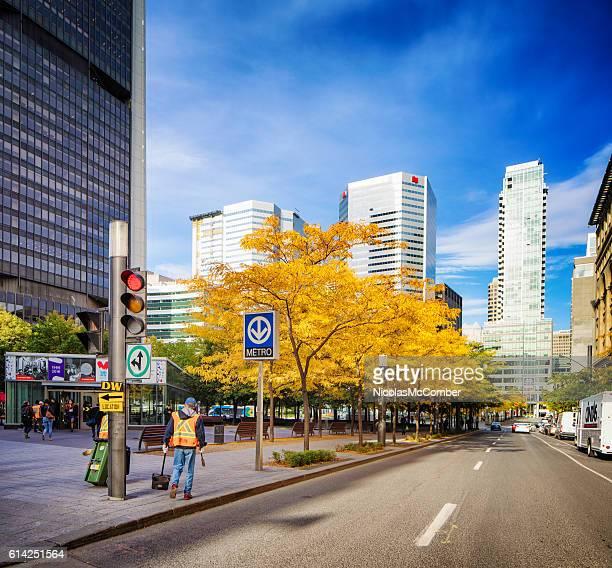 Square Victoria Montreal urban scene in Autumn