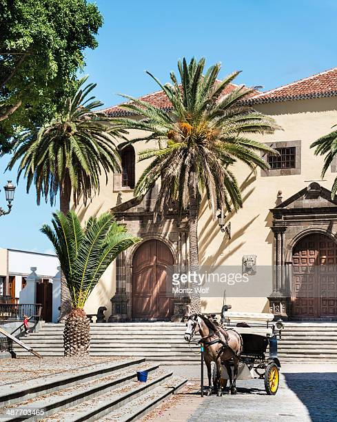Square with a horse-drawn carriage, Garachico, Tenerife, Canary Islands, Spain