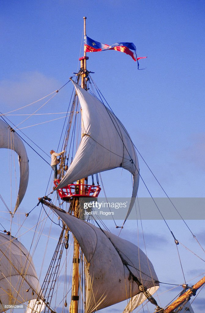 Square-Rigger Sailing Ship Golden Hinde : Stock Photo