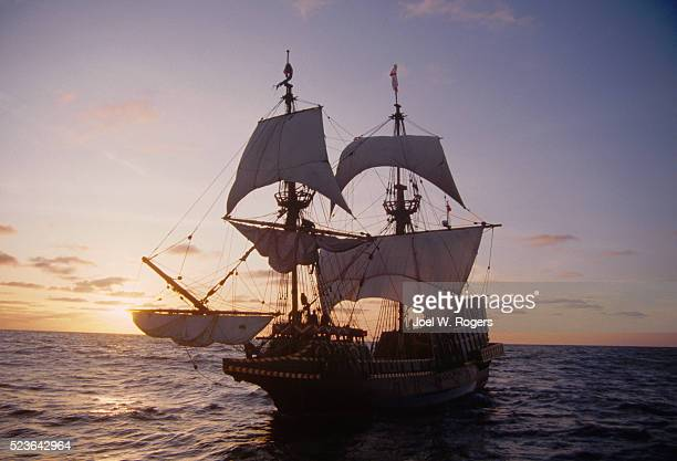 square-rigger sailing ship golden hinde - golden hind ship stock photos and pictures