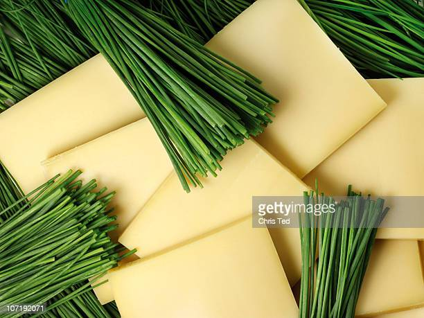 Squares of Gruyere Cheese with chive