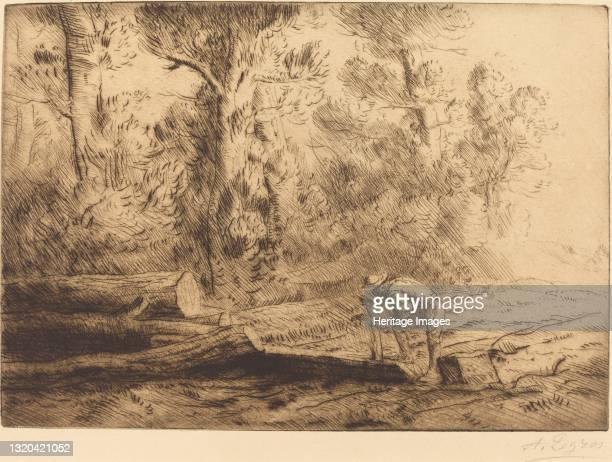 Squaring Logs . Artist Alphonse Legros.