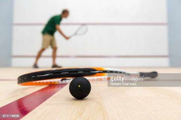 squash player, racket and ball in court - squash sport stock pictures, royalty-free photos & images