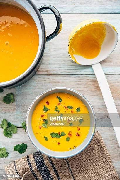 Squash soup with cilantro and chili