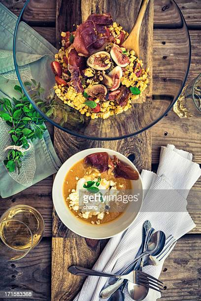 Squash Soup with grilled corn salad