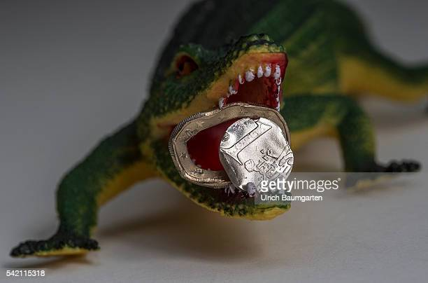 Squashed 1 Euro coin in the muzzle of a crocodile Symbol photo on the subjects Brexit European Union European Central Bank European Economc and...