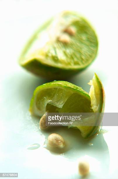 A squeezed wedge of lime
