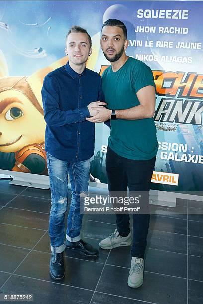 Squeezie and Jhon Rachid attend Ratchet & Clank Paris Premiere at Mk2 Bibliotheque on April 3, 2016 in Paris, France.