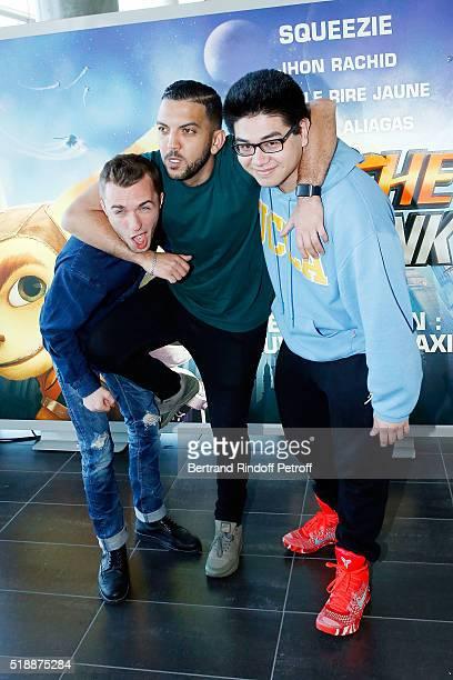 Squeezie , Jhon Rachid and Kevin le Rire Jaune attend Ratchet & Clank Paris Premiere at Mk2 Bibliotheque on April 3, 2016 in Paris, France.