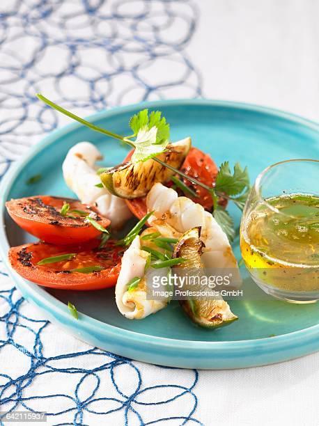 Squid and tomatoes a la plancha