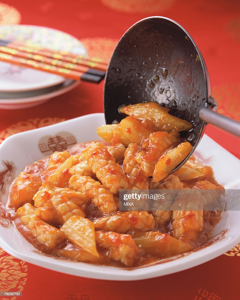 Squid in Chili sauce : Stock Photo
