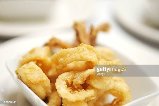 Calamar anillos fritas