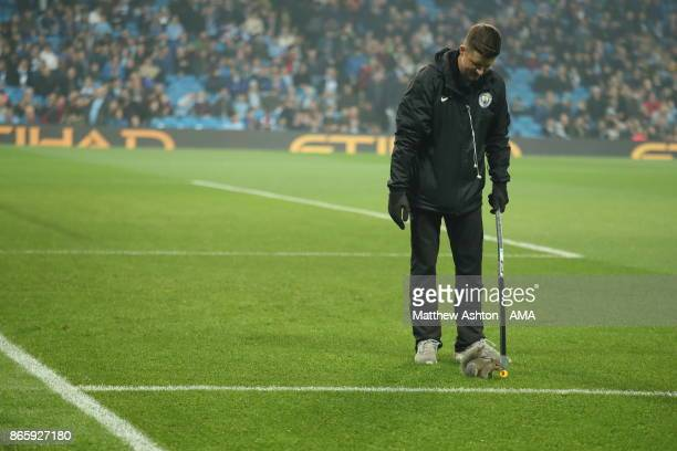 Squirrel on the pitch before the game in the Carabao Cup Fourth Round fixture between Manchester City and Wolverhampton Wanderers at Etihad Stadium...