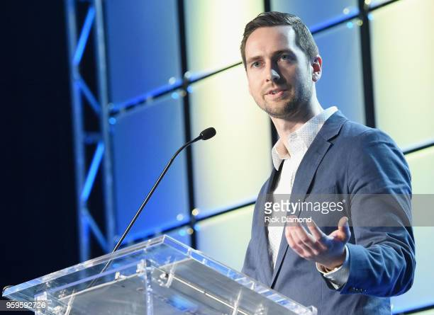 Sr Product Manager at TiVo Kyle Smetanka speaks onstage during the Music Biz 2018 Awards Luncheon for the Music Business Association on May 17 2018...