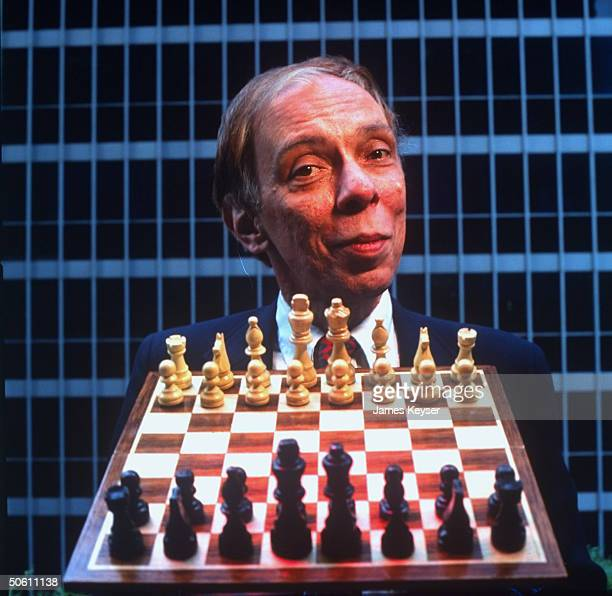 TIME sr writer Paul Gray w chess board re coverage of Bobby Fischer/Boris Spassky rematch