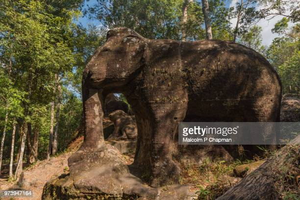 "srah damrie at phnom kulen, elephant statue in the jungle, siem reap, cambodia - cambodia ""malcolm p chapman"" or ""malcolm chapman"" stock pictures, royalty-free photos & images"