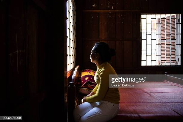 Sras a 33 year old survivor of domestic violence in the Cambodian Women's Crisis Shelter on July 2 2018 in Phnom Penh Cambodia Sras husband...