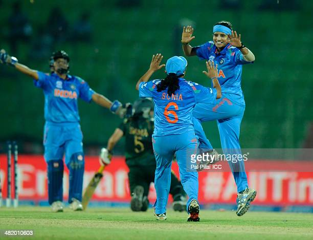Sravanthi Naidu of India celebrates the wicket of Sana Mir captain of Pakistan during the ICC Women's World Twenty20 Playoff 2 match between Pakistan...