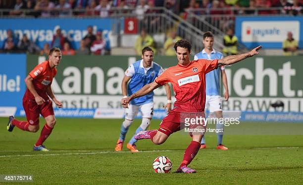 Srdan Lakic of Kaiserslautern scores his team's first goal from a penalty during the Second Bundesliga match between 1 FC Kaiserslautern and TSV 1860...