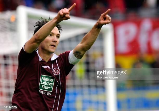 Srdjan Lakic of Kaiserslautern celebrates after scoring his teams third goal during the Bundesliga match between 1FC Kaiserslautern and SV Werder...