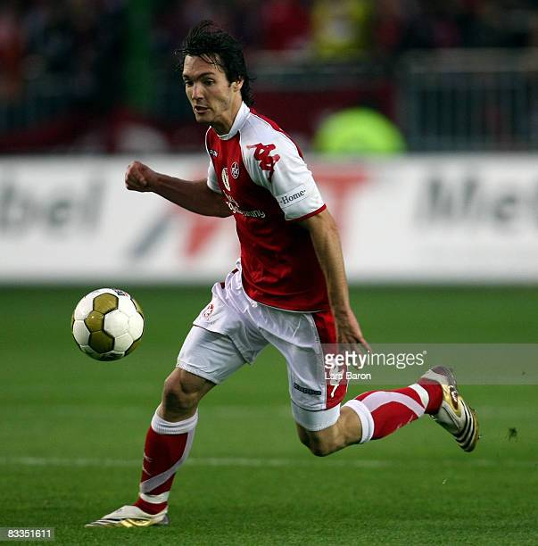 Srdjan Lakic of Kaiserslautern runs with the ball during the Second Bundesliga match between 1 FC Kaiserslautern and RotWeiss Ahlen at the...