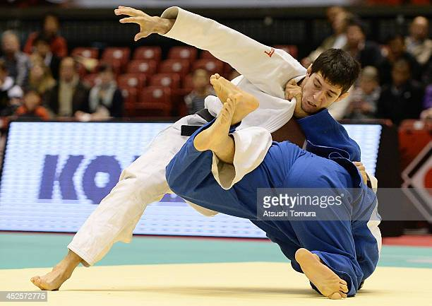Srdjan Mrvaljevic of Montenegro and Takahiro Nakai of Japan compete in the men's 81kg quaterfinal match during day two of the Judo Grand Slam at the...