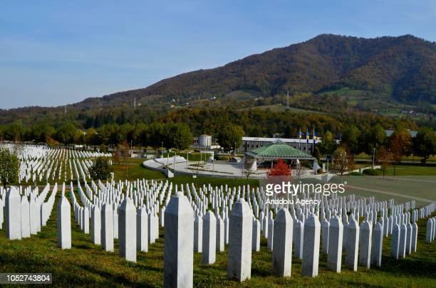 Srebrenica massacre victims' gravestones are seen at Potocari Monument Cemetery during autumn in Srebrenica, Bosnia and Herzegovina on October 22,...