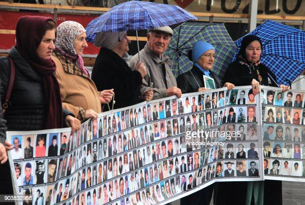 Srebrenica massacre victims' relatives stage a protest against moving the laboratory in which the identifications of the bones from mass graves are...