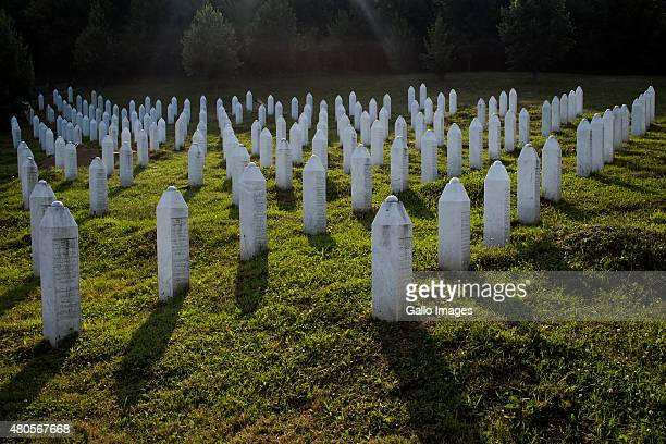 Srebrenica Potocari Memorial and Cemetery on July 8 2015 at Potocari Bosnia During the 19921995 Bosnian War the town of Srebrenica was declared a UN...