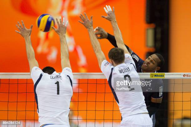 Srecko Lisinac Mariusz Wlazly Yoandy Leal Hidalgo during FIVB Volleyball Men's World Championship 3rd place match between Skra Belchatow and Sada...