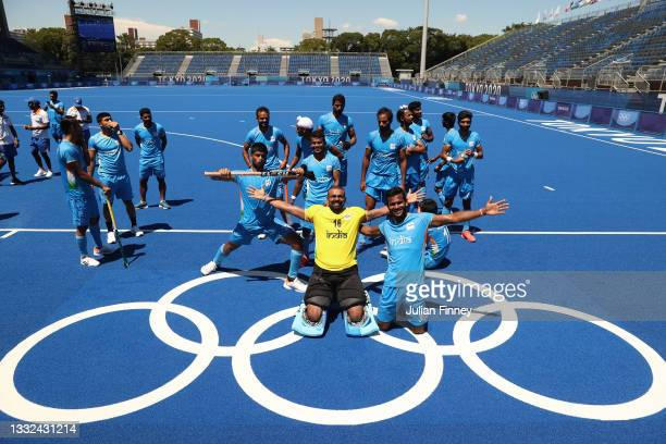 Sreejesh Parattu Raveendran goalkeeper of Team India celebrates with team mates after winning the Men's Bronze medal match between Germany and India...